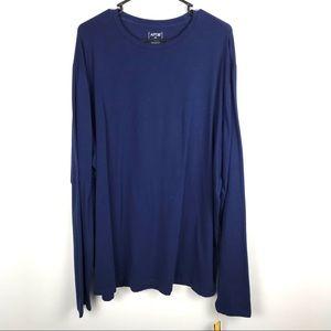 Apt 9 XXL Long Sleeve Shirt Crew Neck Solid Blue